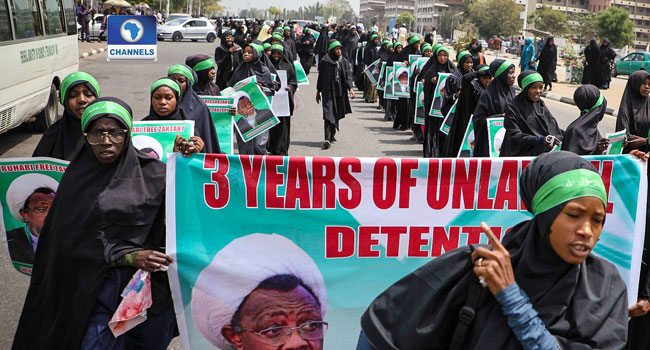 PHOTOS: IMN Members Protest Continued Detention Of El-Zakzaky