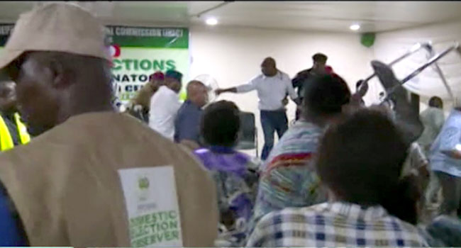 VIDEO: Tension In Imo As Party Agents Disrupt Collation Process