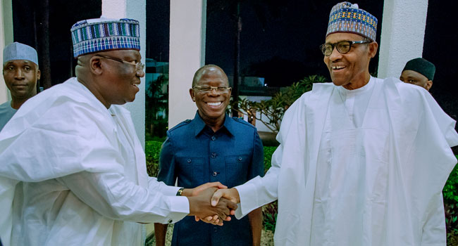 PICTURES: President Buhari Hosts APC Governors, Senators-Elect To Dinner
