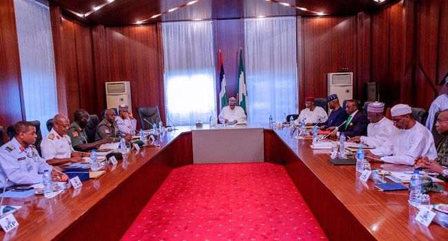 President Buhari Meets With Security Chiefs