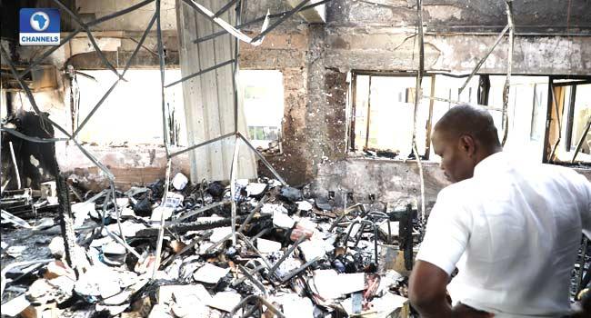 PHOTOS: Fire Guts National Productivity CentreOffice In Abuja