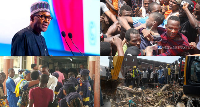 Lagos Building Collapse: President Buhari Commiserates With Families Of Victims