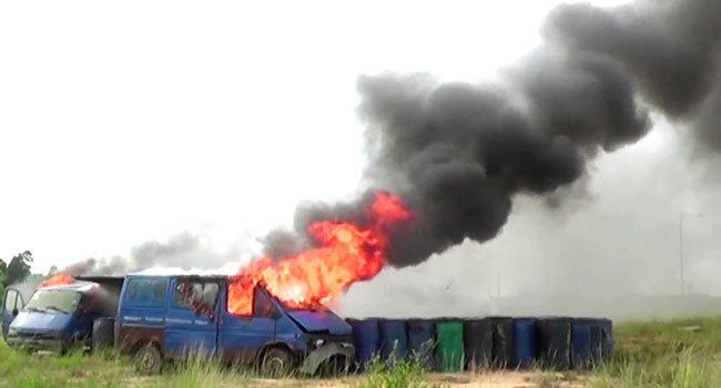 Army Destroys Two Smuggled Cars, 500 Drums Of Adulterated Diesel
