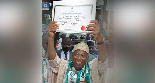 PHOTOS: INEC Issues Certificate Of Return To Ganduje, Others In Kano