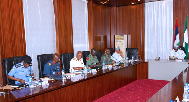 Service Chiefs Brief Buhari On Kidnappings, Other Crimes