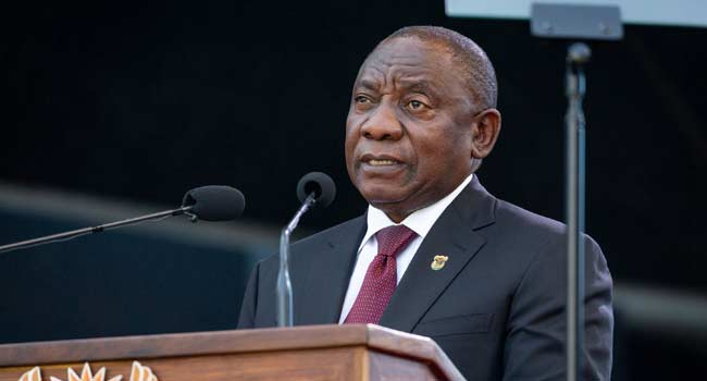 Cyril Ramaphosa delivers a speech during his inauguration as South African President, at Loftus Versfeld stadium in Pretoria, on May 25, 2019.