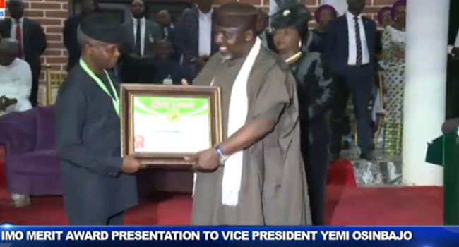 Osinbajo Receives Imo Merit Award