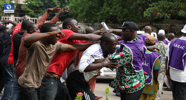 Picketing: TCN Workers Clash With Protesting TUC Members