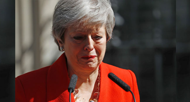 PHOTOS: Theresa May Fights Back Tears As She Announces Resignation