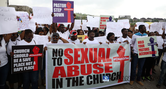 Protest At COZA Over Rape Allegation Against Pastor Fatoyinbo