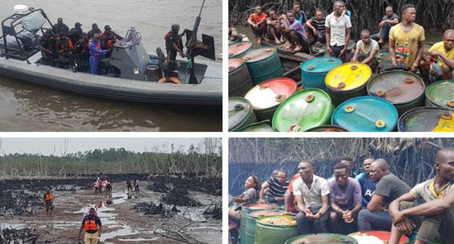 Navy Destroys Illegal Refineries In Warri, Port Harcourt