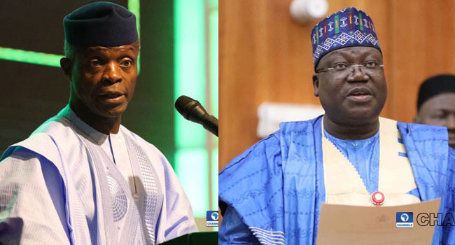 Lawan Meets Osinbajo, Promises Seamless Relationship Between Executive, Legislature