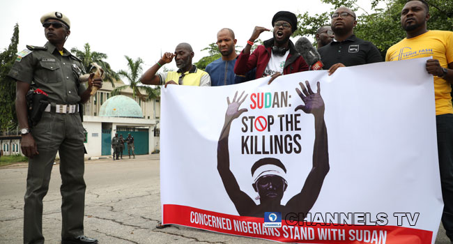 PHOTOS: Concerned Nigerians Group Protests Over Sudan Killings