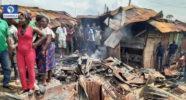 Fire Guts Over 60 Shops In Enugu Market - Channels Television