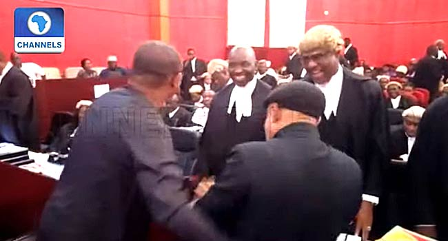 VIDEO: Peter Obi, Chris Ngige Hug At Presidential Election Petitions Tribunal