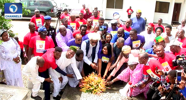 Image result for Soyinka, Falana, others lay wreath on Abiola's grave