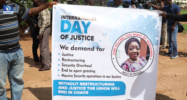 PHOTOS: Nigerians Protest In Abuja Over Insecurity