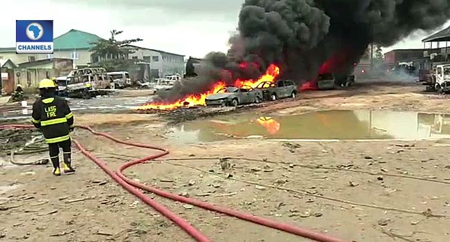 PHOTOS: Vehicles, Properties Destroyed In Lagos Pipeline Explosion