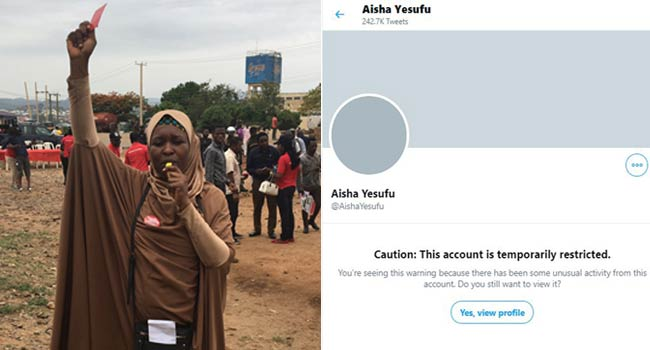 Why Twitter Temporarily Restricted Activist, Aisha Yesufu