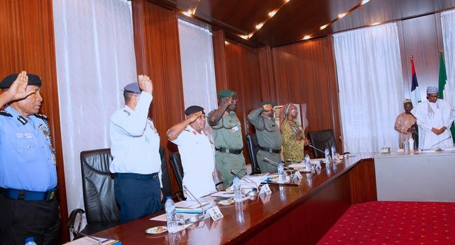 Service Chiefs Brief Buhari On Security, Killing Of Policemen In Taraba