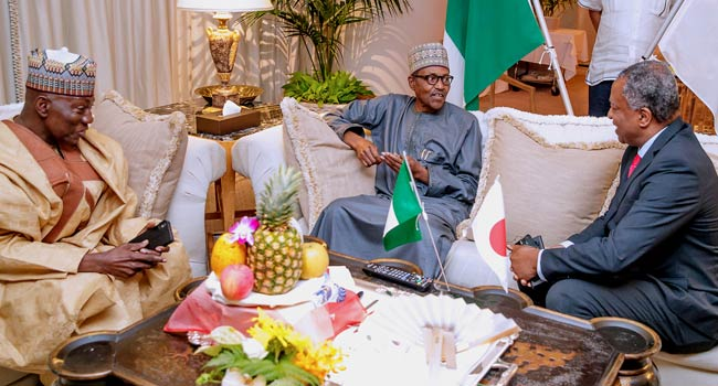 Image result for images of President Buhari arrives Japan