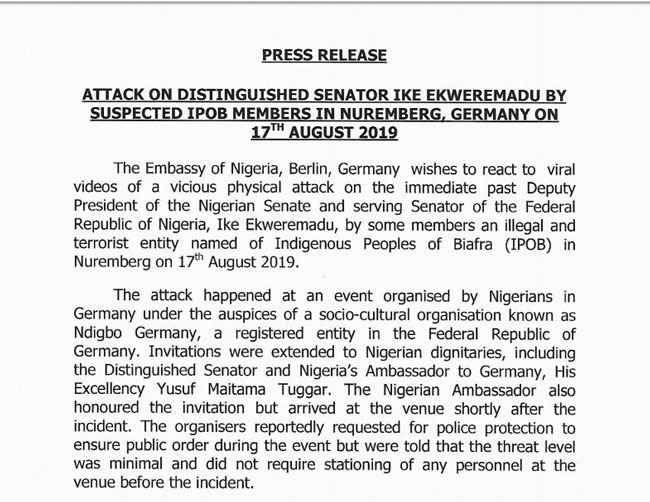 IPOB members who attacked Ike Ekweremadu will be prosecuted under German law- Embassy says