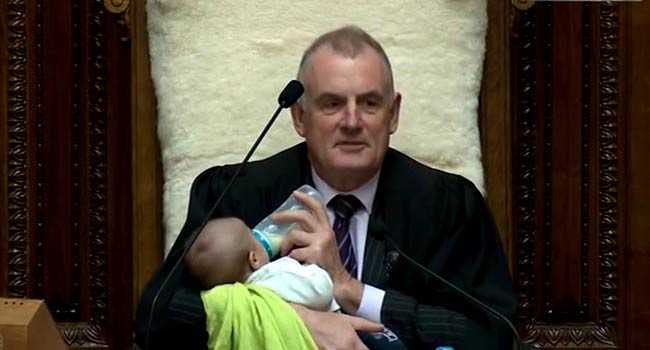 Viral Picture: Speaker Feeds Baby During Parliamentary Debate