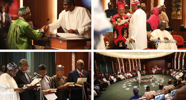 Buhari, Amaechi And The Ministers Who Retained Their Portfolios