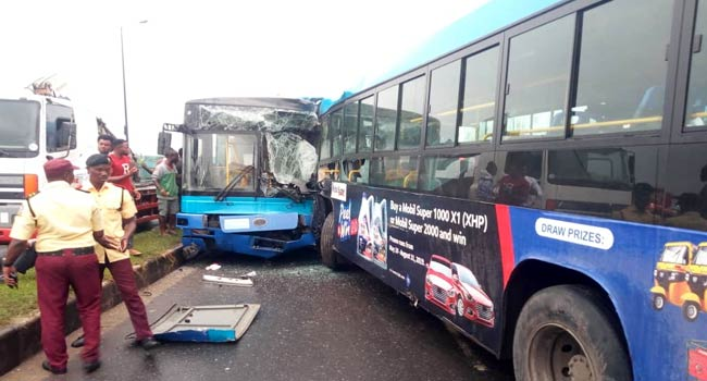 Two BRT Buses Involved In Head-On Collision