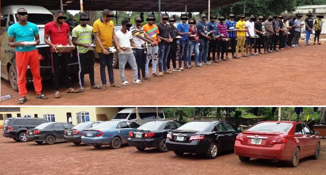 PHOTOS: 28 Suspected Fraudsters Arrested, Cars Recovered In EFCC Raid
