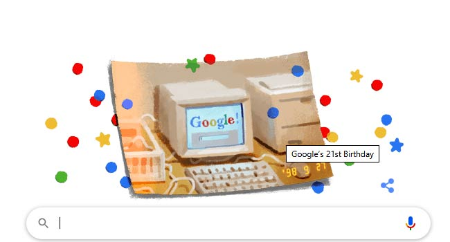 Google celebrates its 21st birthday with special doodle - Check out!