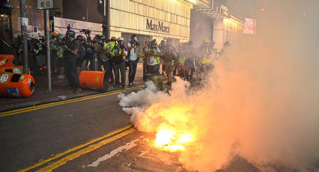Hong Kong Police Fire Tear Gas, Water Cannon As Protests Enter 99th Day
