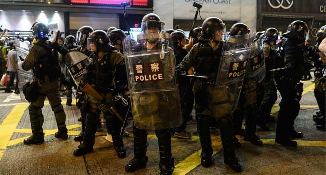 Hong Kong Police Stop Protest At Airport