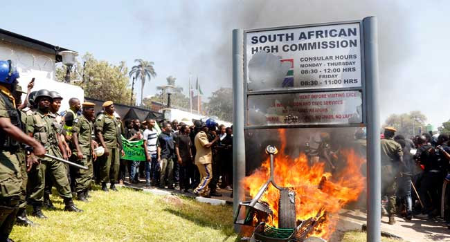 Xenophobia: Zambian Students Storm South Africa Embassy, Destroy Properties