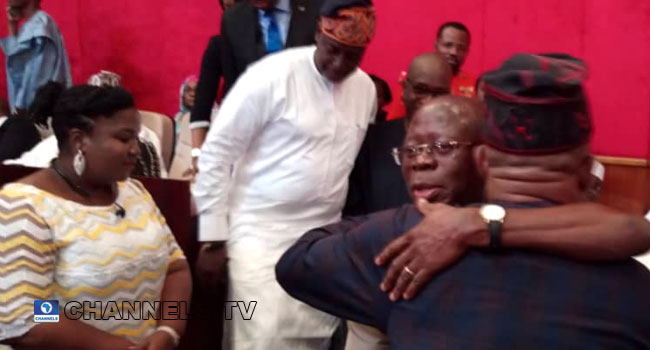 PHOTOS: Oshiomhole, Secondus Embrace Each Other At Presidential Election Tribunal