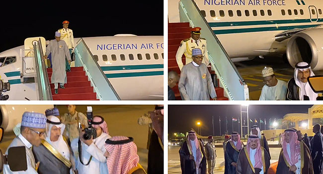 Image result for Buhari arrives in Riyadh for Economic Summit in Saudi