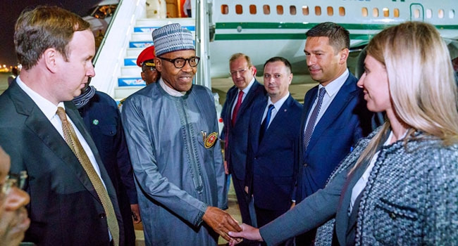 Buhari, Three Governors, Others Arrive In Russia