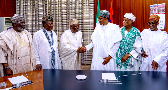 'I Pledge To Carry Everyone Along', Buhari Tells Ex-Ministers