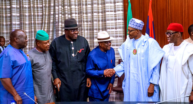 Dickson, Wike, Other Oil-Producing State Governors Meet Buhari