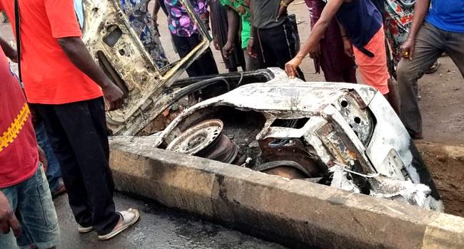 VIDEO: Youths Shut Benin-Lagos Highway As Car Kills Four People