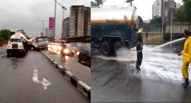 Fuel Spills As Tanker, Truck Collide In Lagos