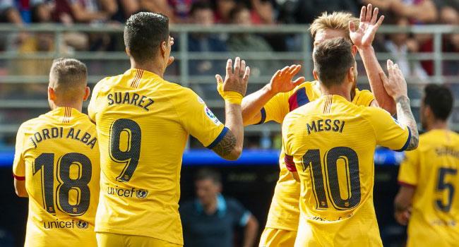 Messi, Suarez, Griezmann All On Target As Barca Move Top Of La Liga
