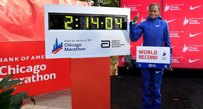 Kenya's Kosgei Crushes Radcliffe World Record In Chicago Marathon