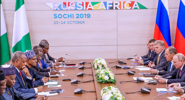 PHOTOS: Buhari, Putin Hold Bilateral Talks In Russia