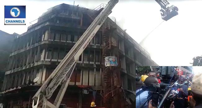 Balogun Market Fire: Sanwoolu Visits Scene As Emergency Operation Continues