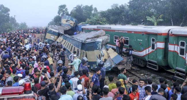 Train accident in Bangladesh kills 14; head-on collision injures over 40