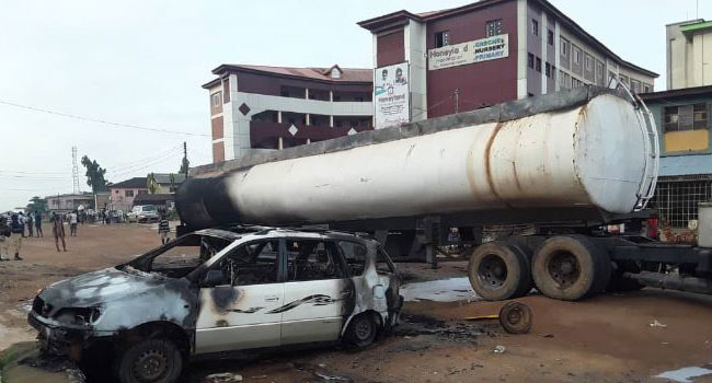 Vehicles Burnt As Petrol Tanker Goes Ablaze In Lagos - CHANNELS TELEVISION