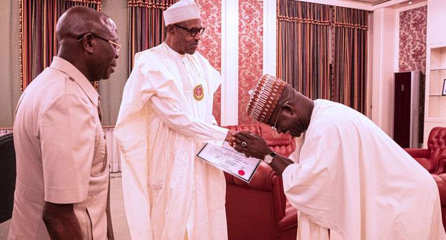 PHOTOS: President Buhari Congratulates Kogi State Governor Yahaya Bello On His Re-Election