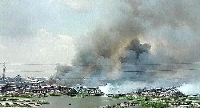 Fire Guts Building In Ebute Metta, Lagos