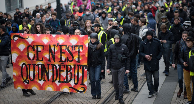 French Protesters, Police Clash On 'Yellow Vest' Anniversary